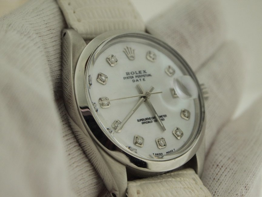 Rolex Mens Stainless Steel Date Diamond Dial 34mm.