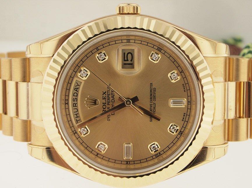 Rolex UNWORN 18k Day-Date II Diamond Dial. PAPERS.