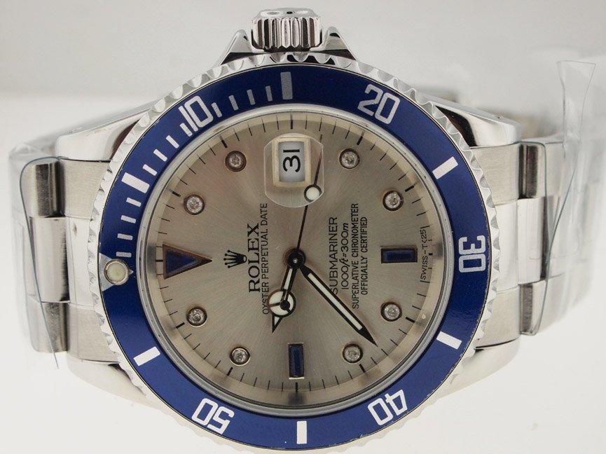 Rolex Mens SS Submariner AM Dia Dial and Blue Bezel