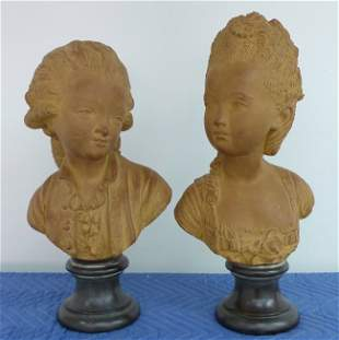 French Terracotas of a gentleman and a lady