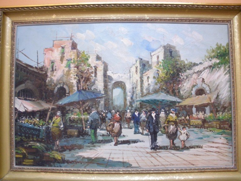 4: market scene costes style oil on canvas painting