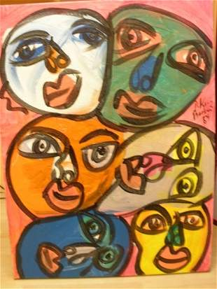 """Peter Keil """"people on time square"""" Acrylic on can"""