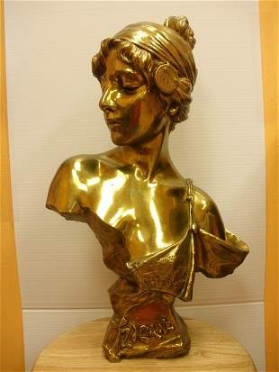 A FRENCH ART NOUVEAU BRONZE BUST CAST FROM A MODEL