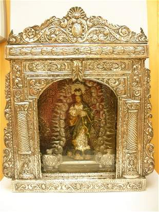 ANTIQUE ANANYMOUS MEXICAN SCHOOL IMMACULATE CONCEPT