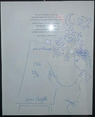 """Marc Chagall """"Self portrait with crescent moon"""""""