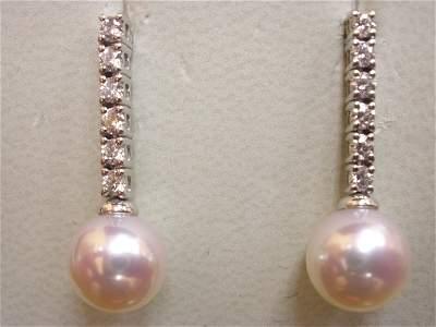 214: 18K WG MIKIMOTO AKOYA PEARL DIAMOND EARRINGS