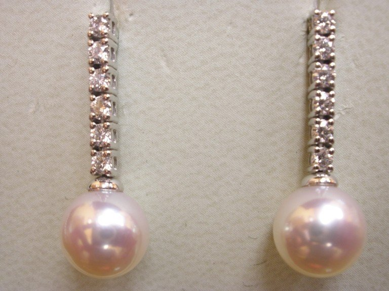 214: 18K WG MIKIMOTO AKOYA PEARL DIAMOND EARRINGS