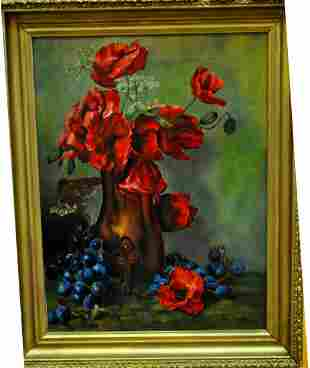 1902 OILD ON CANVAS FLOWERS M.B. COUCH