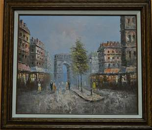 oil on canvas french street scene