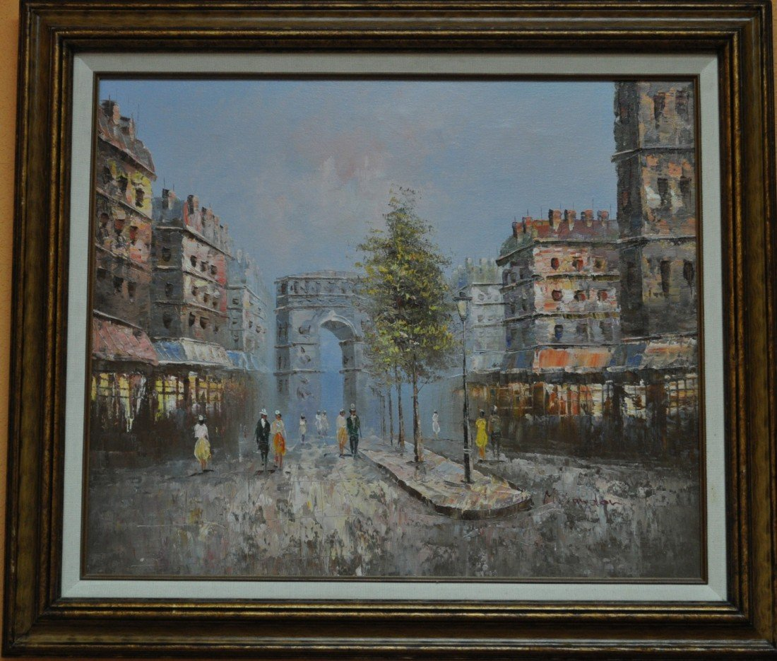 7: oil on canvas french street scene