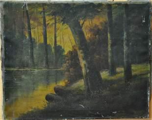 vintage oil on canvas unframed