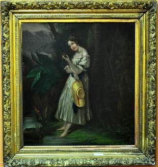 ANTIQUE OIL ON BOARD GIRL IN GARDEN