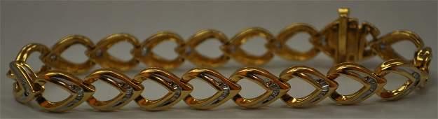 111: stunning gold diamond heart tennis bracelet