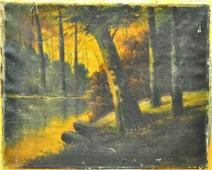 VINTAGE OIL ON CANVAS UNSIGNED