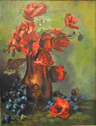 COUCH 1902 OIL ON CANVAS VASE & FLOWERS