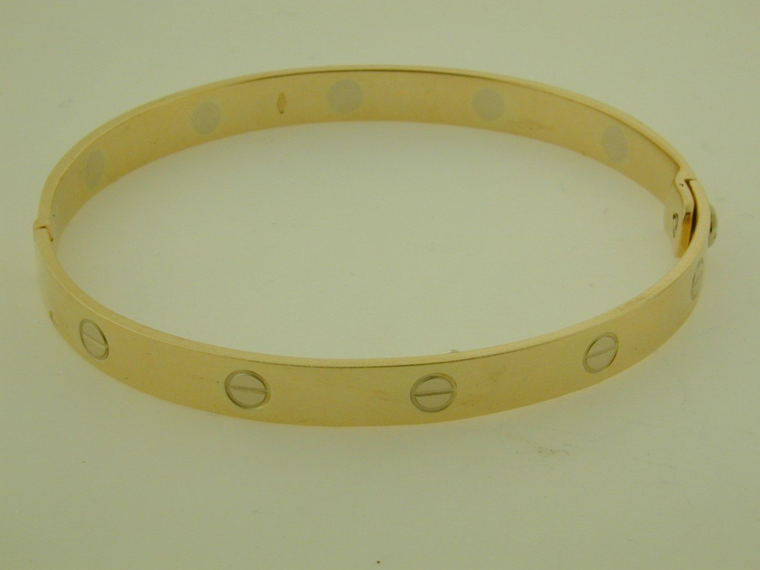 218: Cartier styled screw bangle bracelet - 5