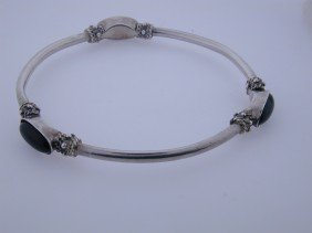Black Onyx Hard Sterling Bangle