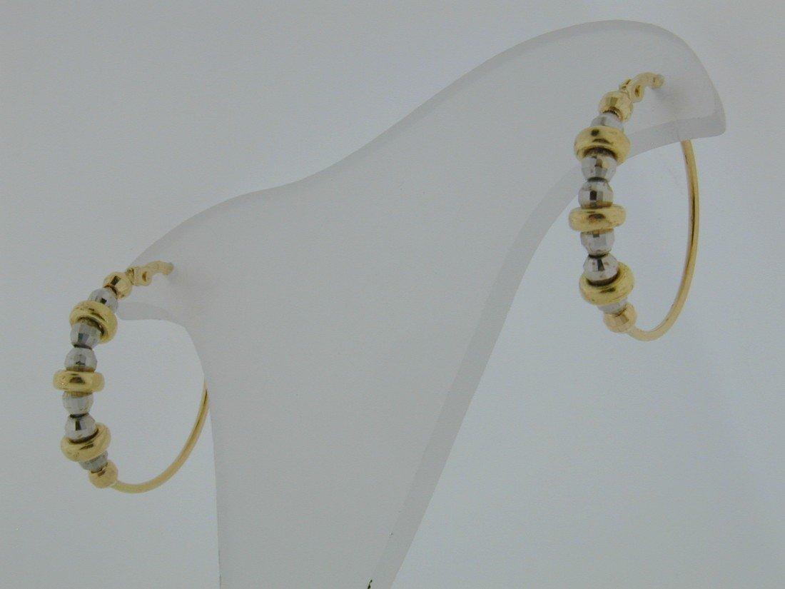 124: Two tone Gold ball hoop earrings