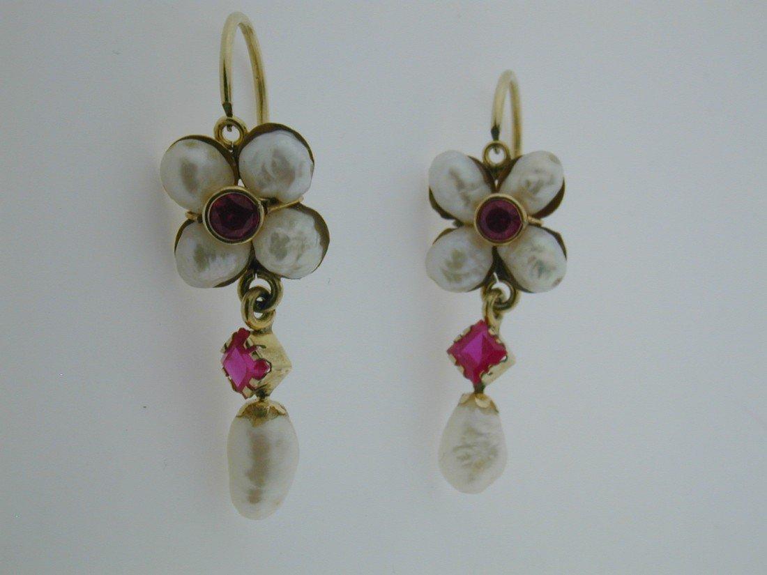 132: Pearl and Rubalite leaver earrings
