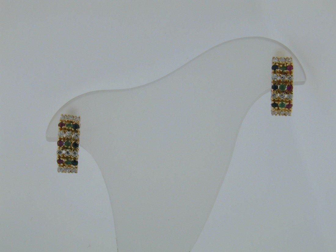 133: Multi stone 18k yg drop earrings