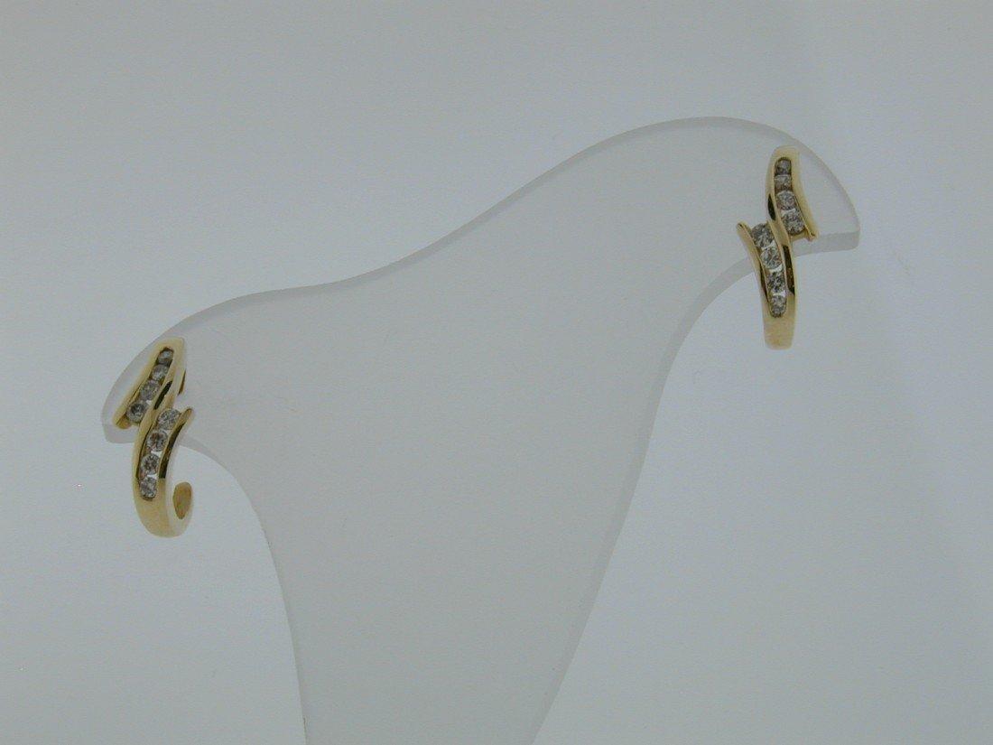 134: Diamond J loop Channel set earrings