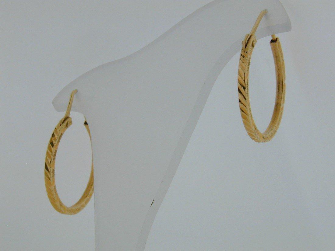 139: 21k Diamond cut Box shape hoops
