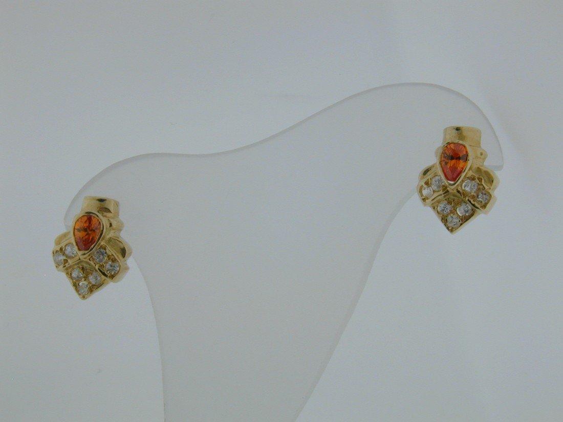 140: Citrene and CZ GOLD earrings