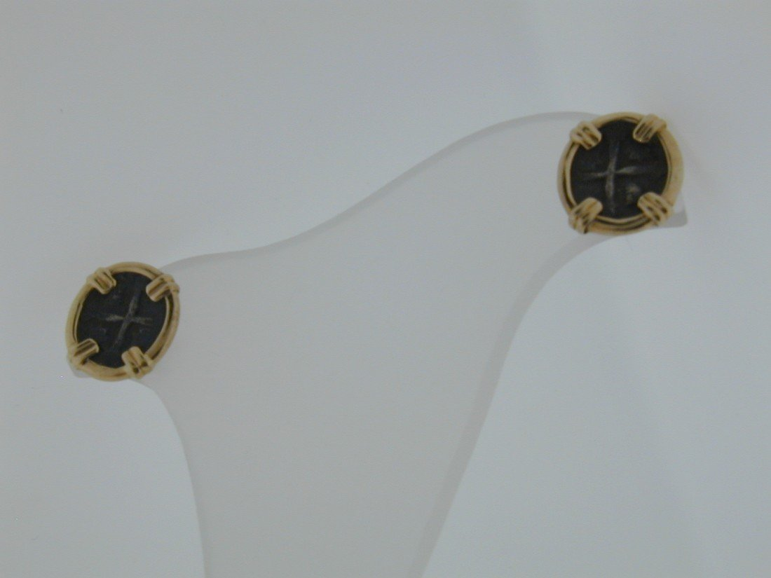 144: Genuine Atocha fragment coin earrings