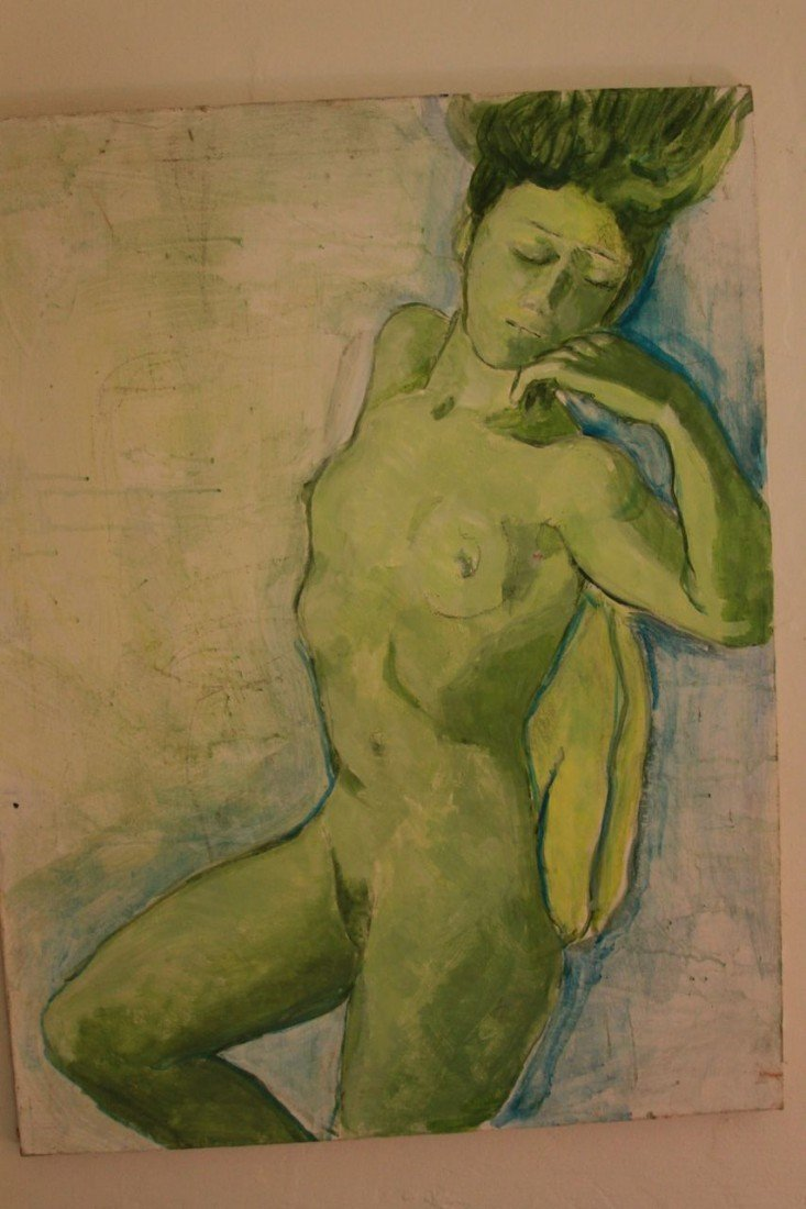 9: Green and blue nude portrait