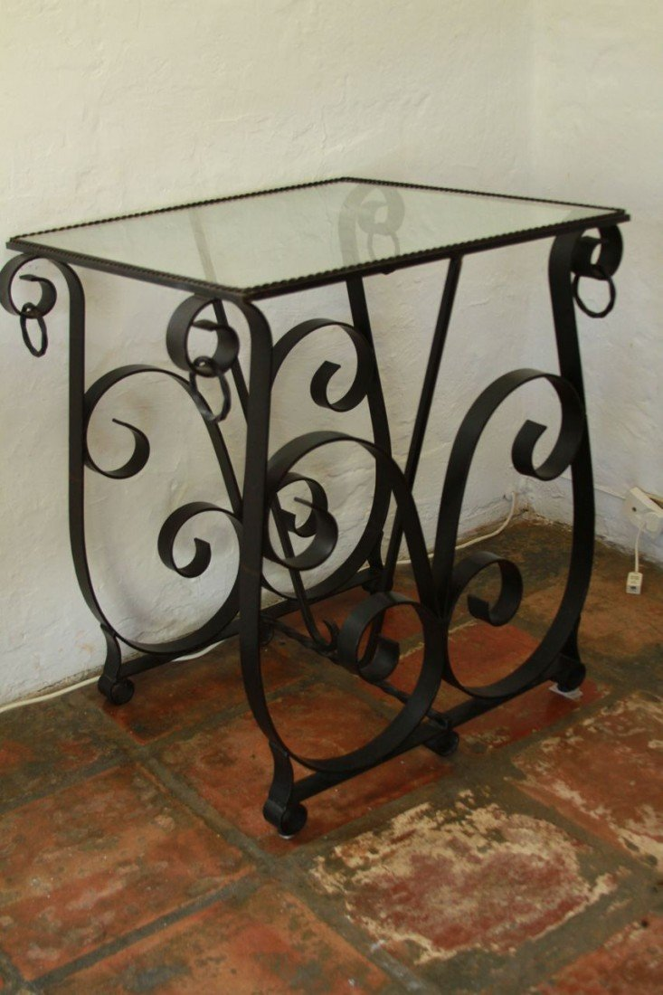 20: Wrought Iron Table with glass top