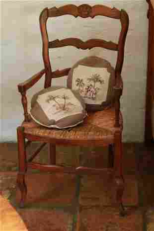 French Provencal chair with wicker seat