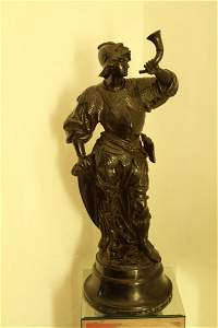 144: Hand carved French ebony statue on plinth