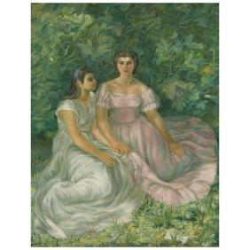 JUAN SORIANO, Retrato de Graciela y Mercedes Lopez de
