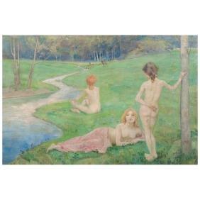 Ludwig Von Hofmann, Banistas, Signed, Oil On Canvas,