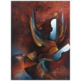 LEONARDO NIERMAN, Sinfonia en rojo, Signed, Acrylic on