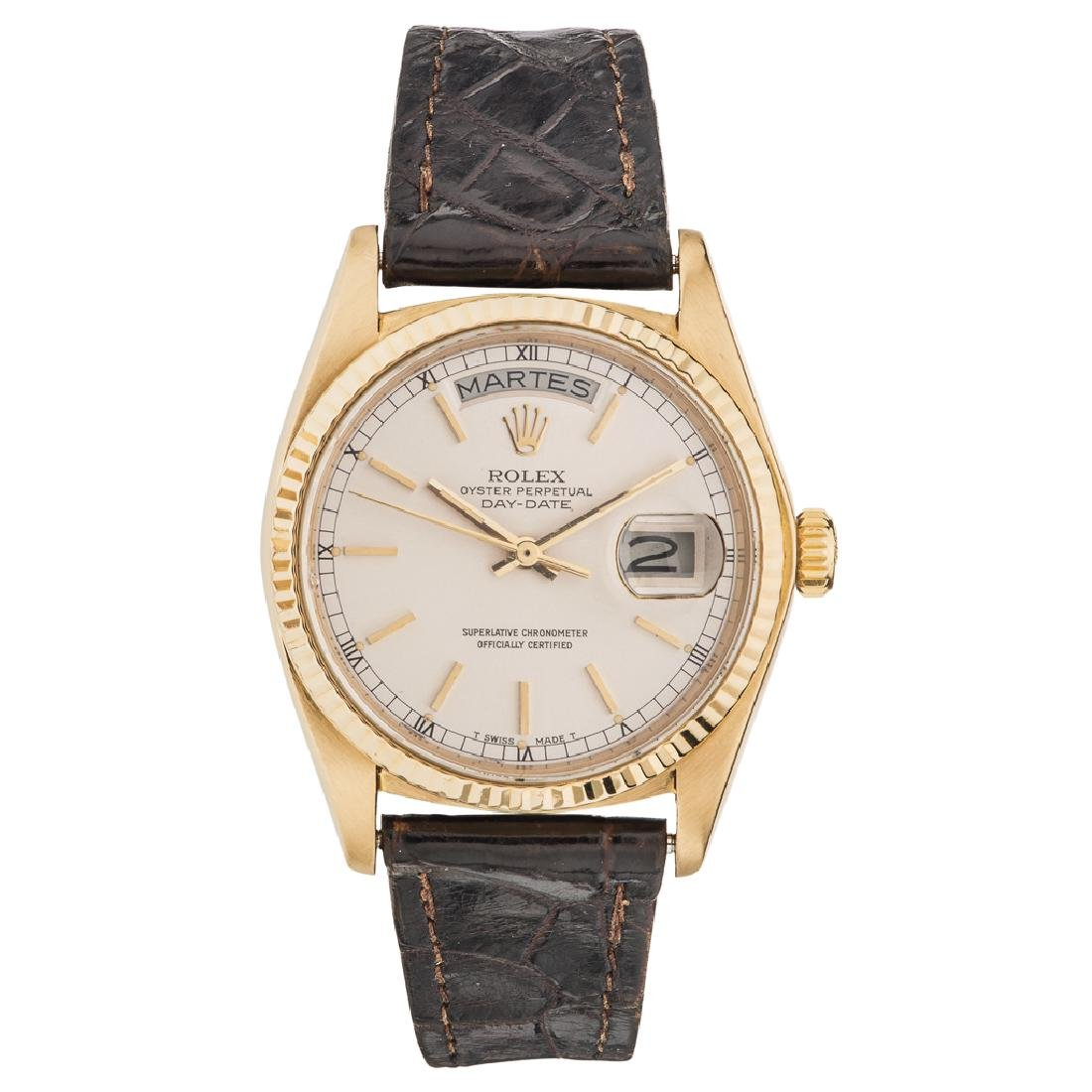 ROLEX OYSTER PERPETUAL DAY - DATE WRISTWATCH. 18K