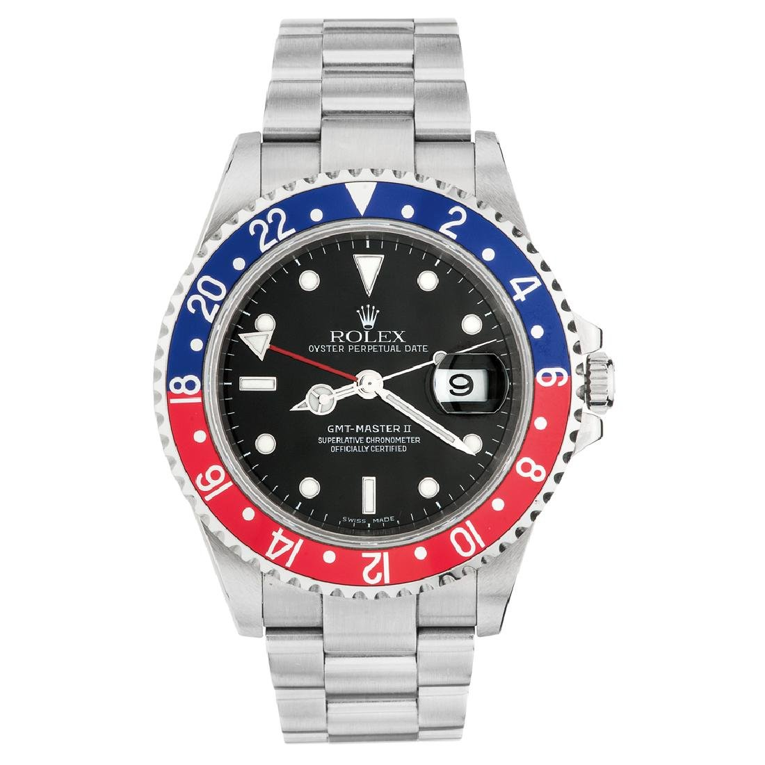 ROLEX OYSTER PERPETUAL DATE GMT MASTER II WRISTWATCH