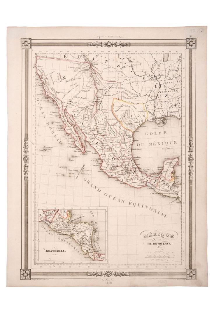 Duvotenay, Thunot. Mexique. Paris, 1846. Engraved map