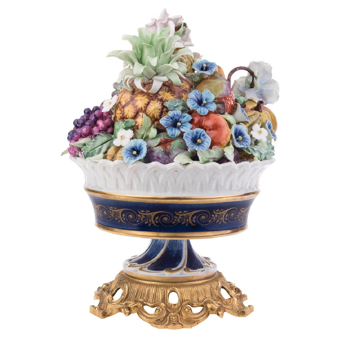 A CENTERPIECE. BASKET OF FRUITS AND FLOWERS. FRANCE,