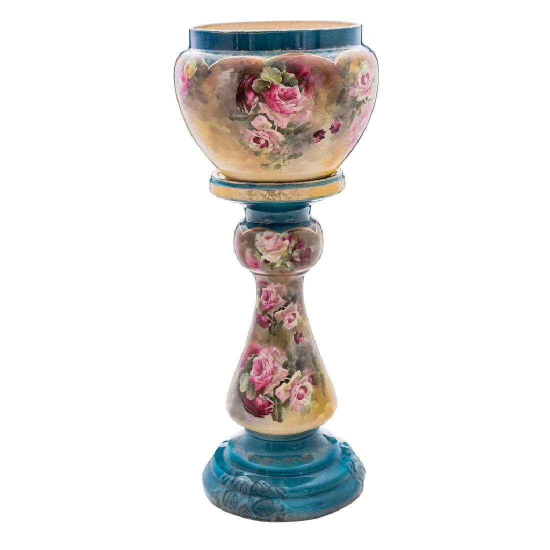 A JARDINIERE ON STAND. FRANCE, CA. 1900. Porcelain,