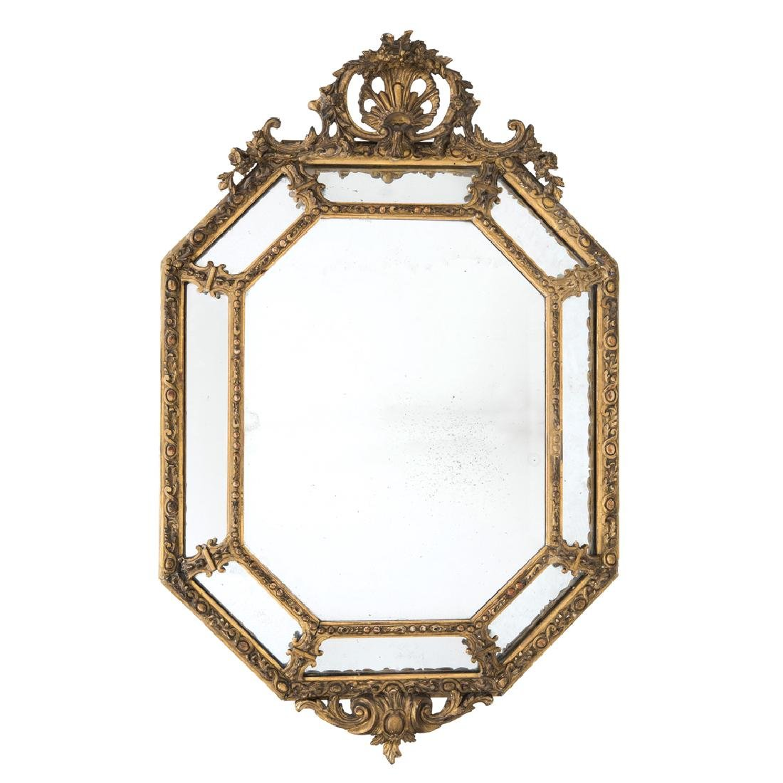 AN EIGHT-SIDED MIRROR. FRANCE, 19th CENTURY. Made in