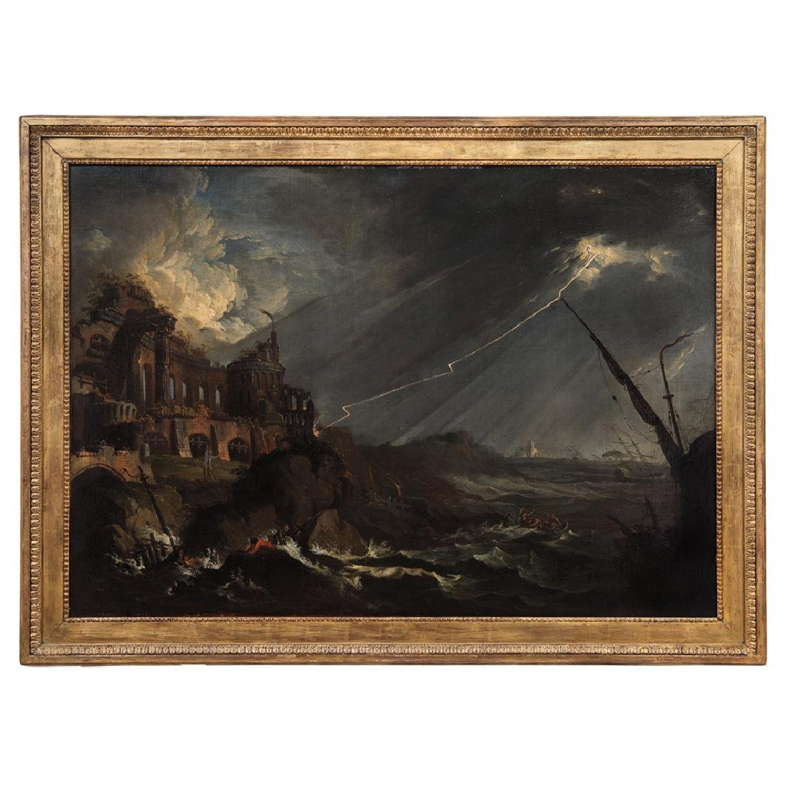 FRANCESCO FIDANZA (ITALY, 1747-1819). TEMPEST. Oil on