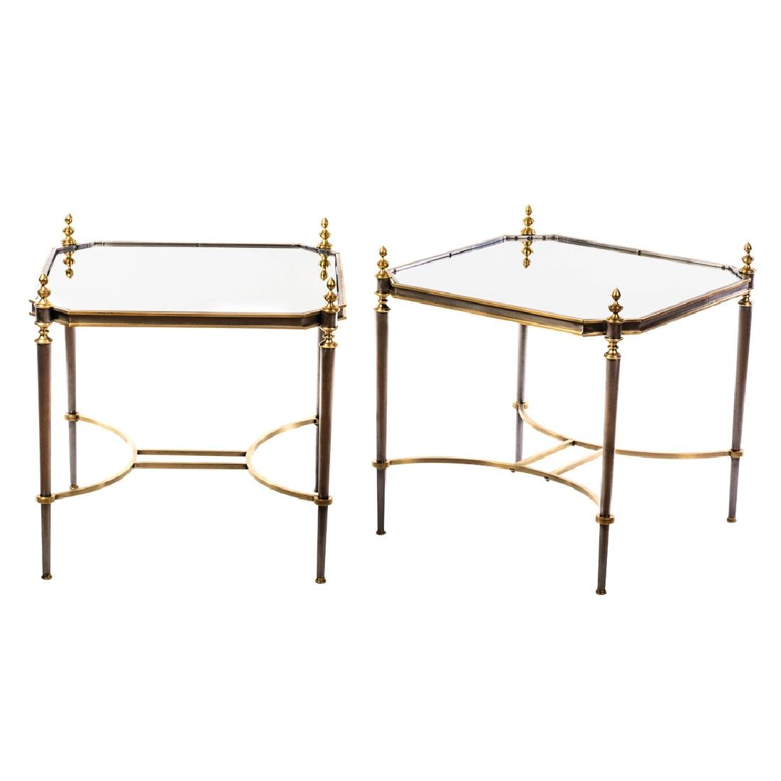 Pair of iron and bronze side tables with quadrangular