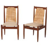 Frank Kyle. Pair of wood chairs with woven palm and