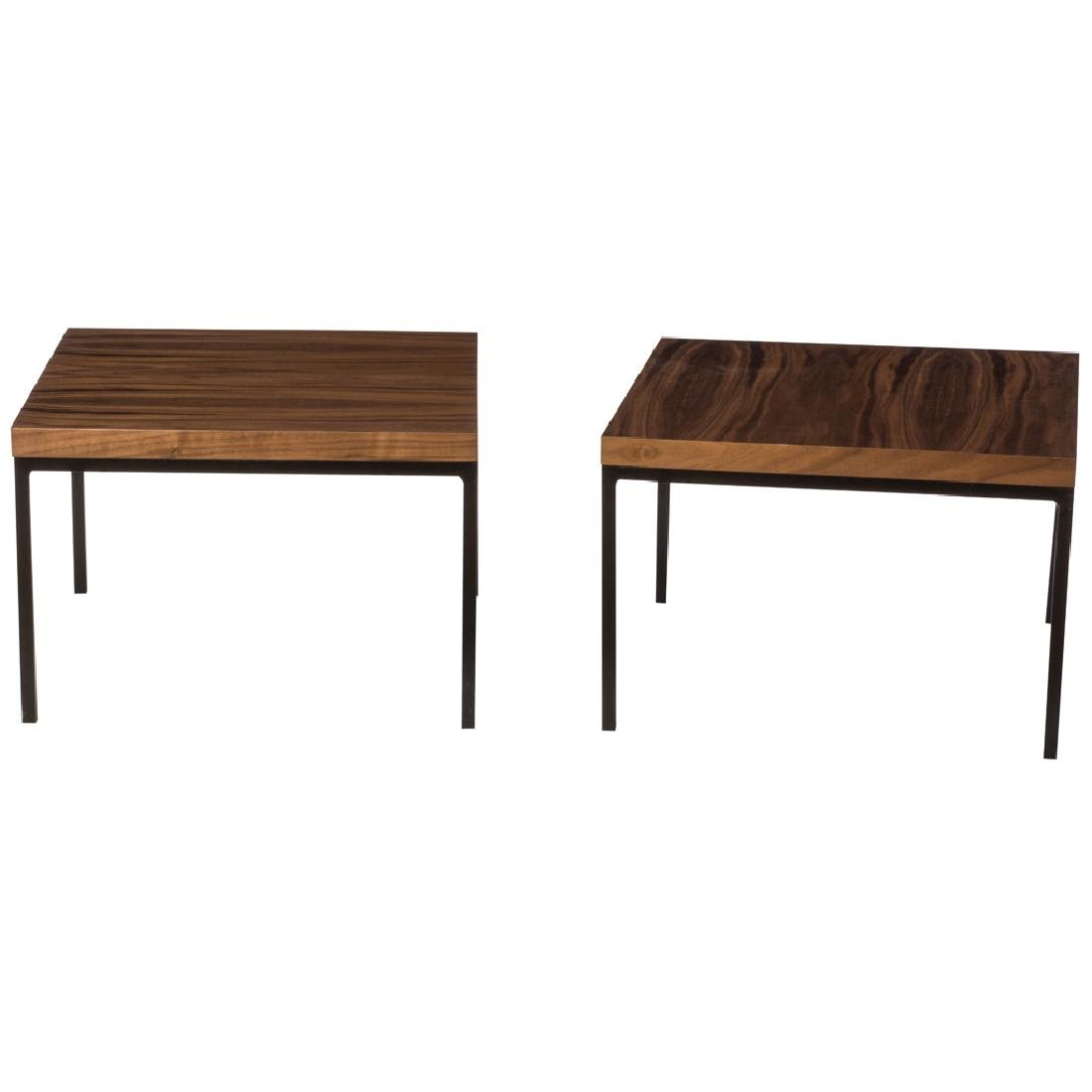 Mexican pair of black metal side tables with walnut