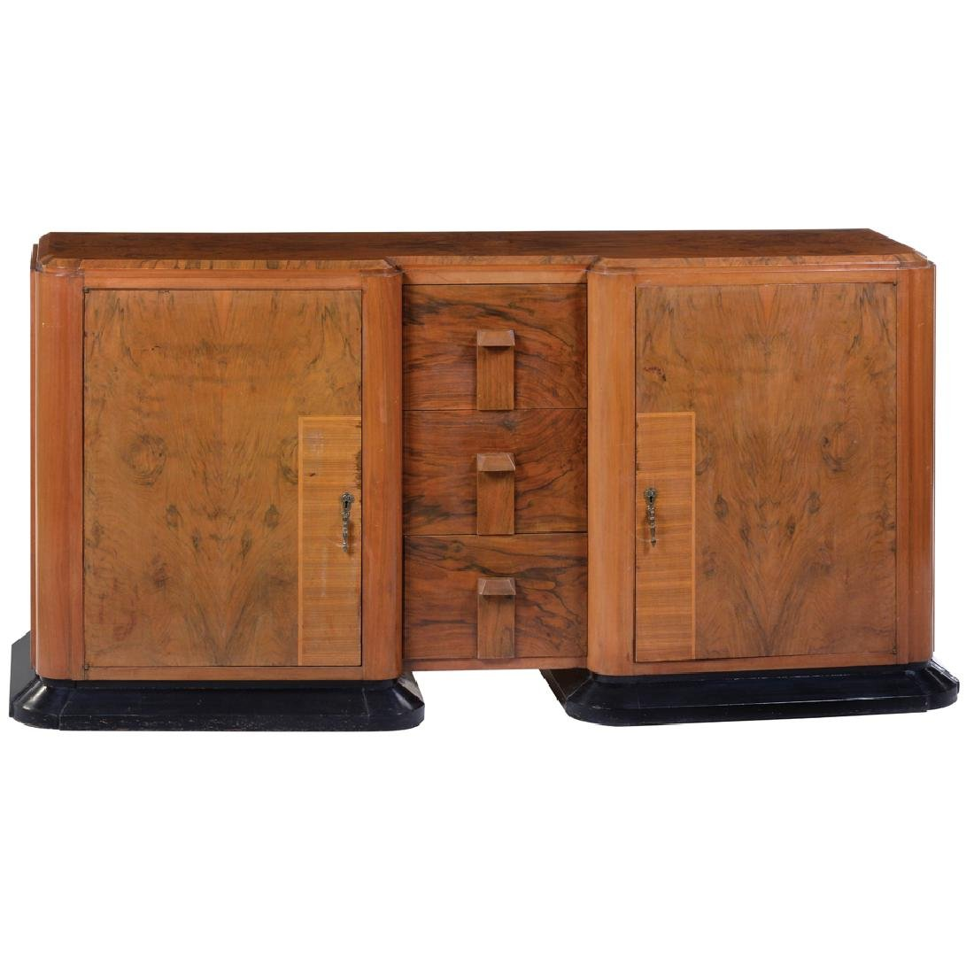 art Deco style root wood bureau with 2 doors, 3 drawers