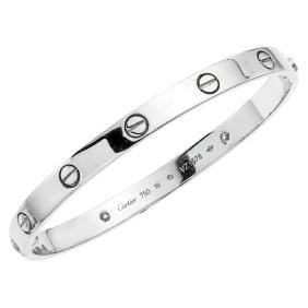 "A CARTIER ""LOVE"" 18K white gold bracelet with 2"