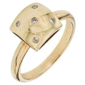 A 14K yellow gold ring with 5 diamond accents.
