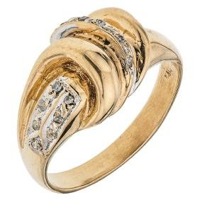 A 14K yellow gold ring with 12 diamond accents.