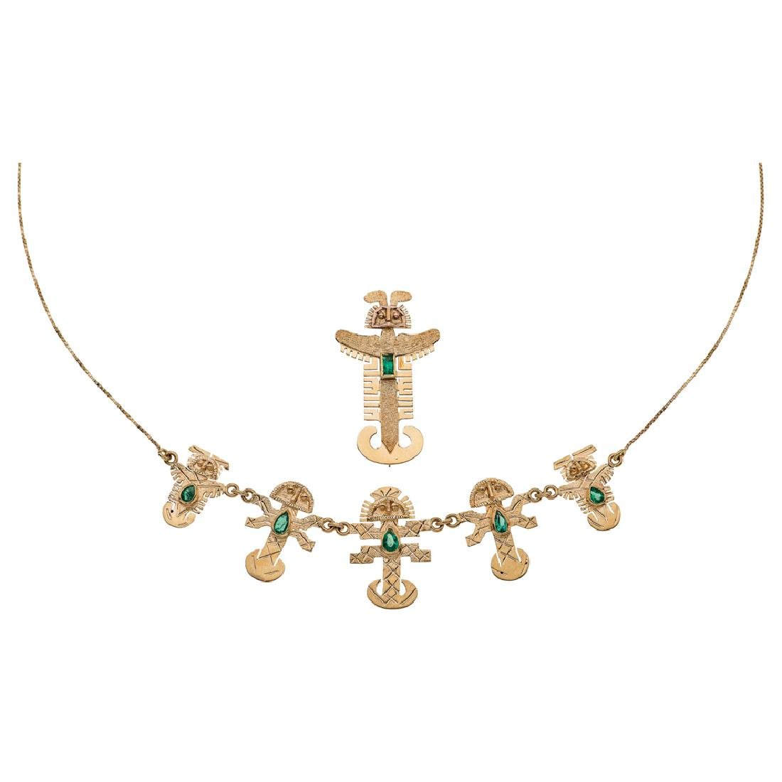 A 14K yellow gold choker and pendant/brooch with 6
